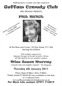 Flyer for the comedy night