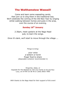 Flyer for the Walthamstow Wassail